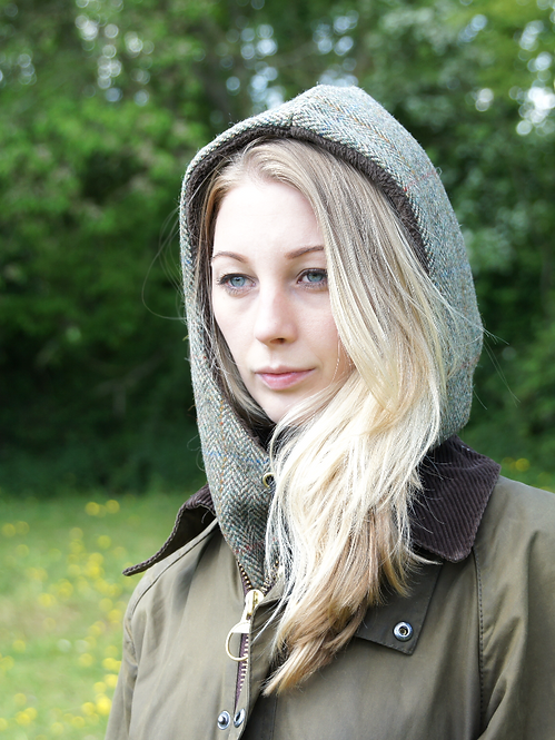 Unisex Sage and Fern Herringbone Tweed Hood