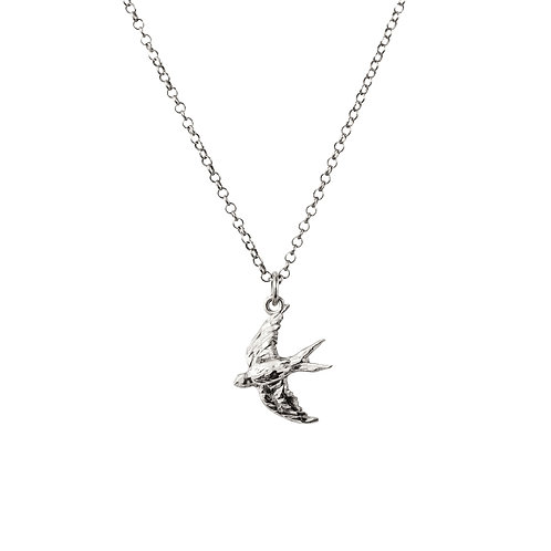 Swooping Swallow Luxury Gold or Silver Pendant with Chain