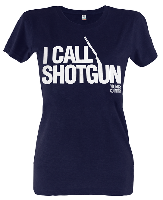 WOMENS 'I CALL SHOTGUN' TSHIRT - NAVY
