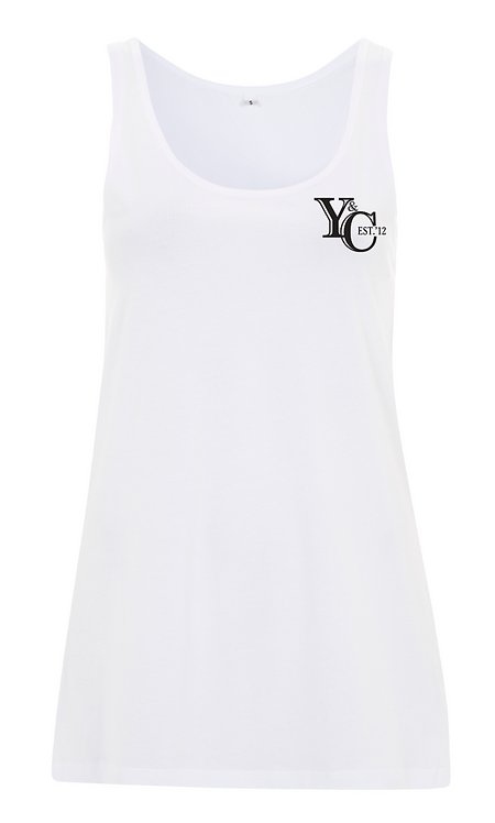 WOMENS Y&C EMBLEM STRAP TOP - WHITE