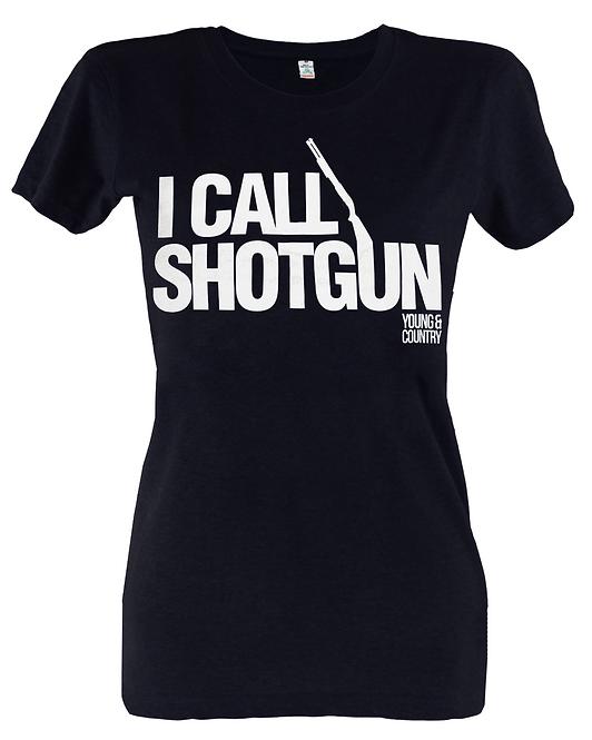 WOMENS 'I CALL SHOTGUN' TSHIRT - BLACK