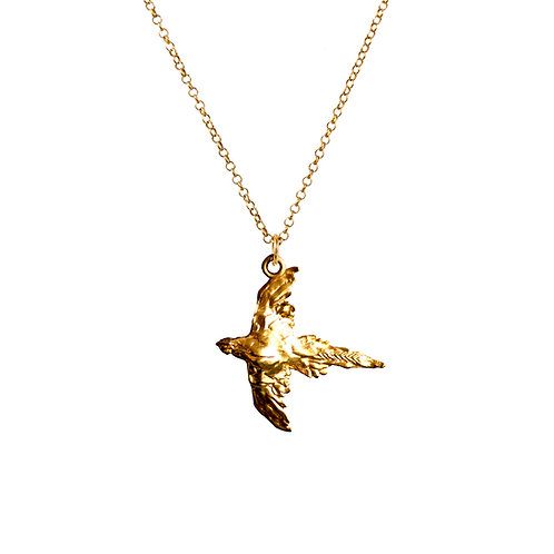 Flying Pheasant Luxury Gold or Silver Pendant with Chain
