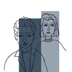 portrait double blue grey