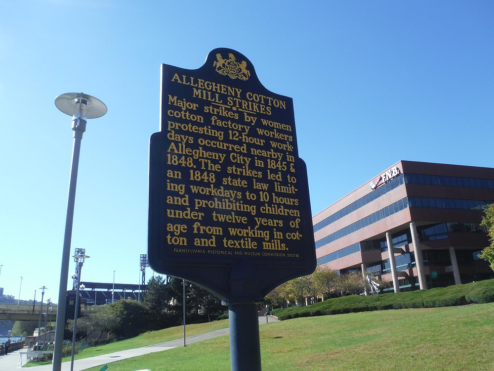 Allegenhey Cotton Mill Strike marker