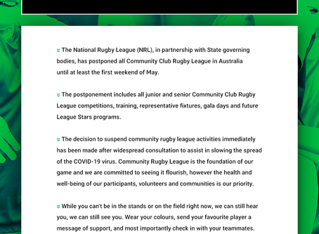 NRL - POSTPONED COMMUNITY RUGBY LEAGUE