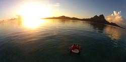 Floating bar at Sunset