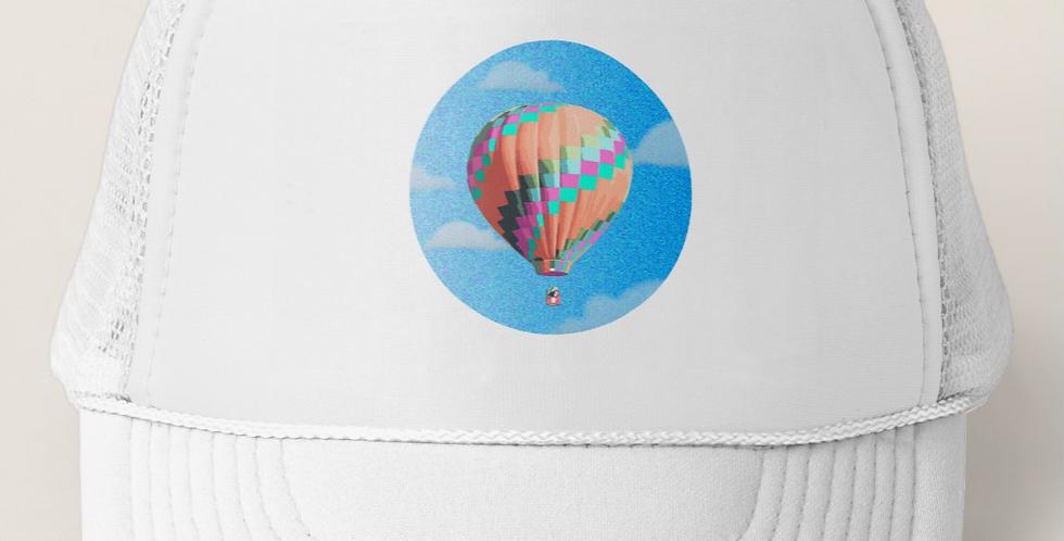 Greg Harlow Media Shop, Media Balloon Trucker Snapback Mesh Hat Cap White
