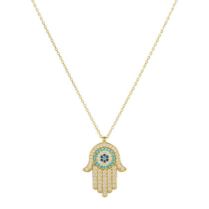 Hamsa Hand With Evil Eye Pendant Necklace in Gold