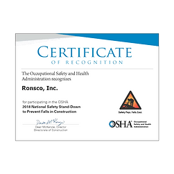 Participation in the OSHA National Safety Stand-Down to prevent falls in construction