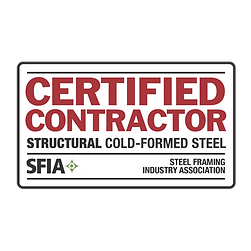 RONSCO receives Structural Cold-Formed Steel Certification from the Steel Framing Industry Association !