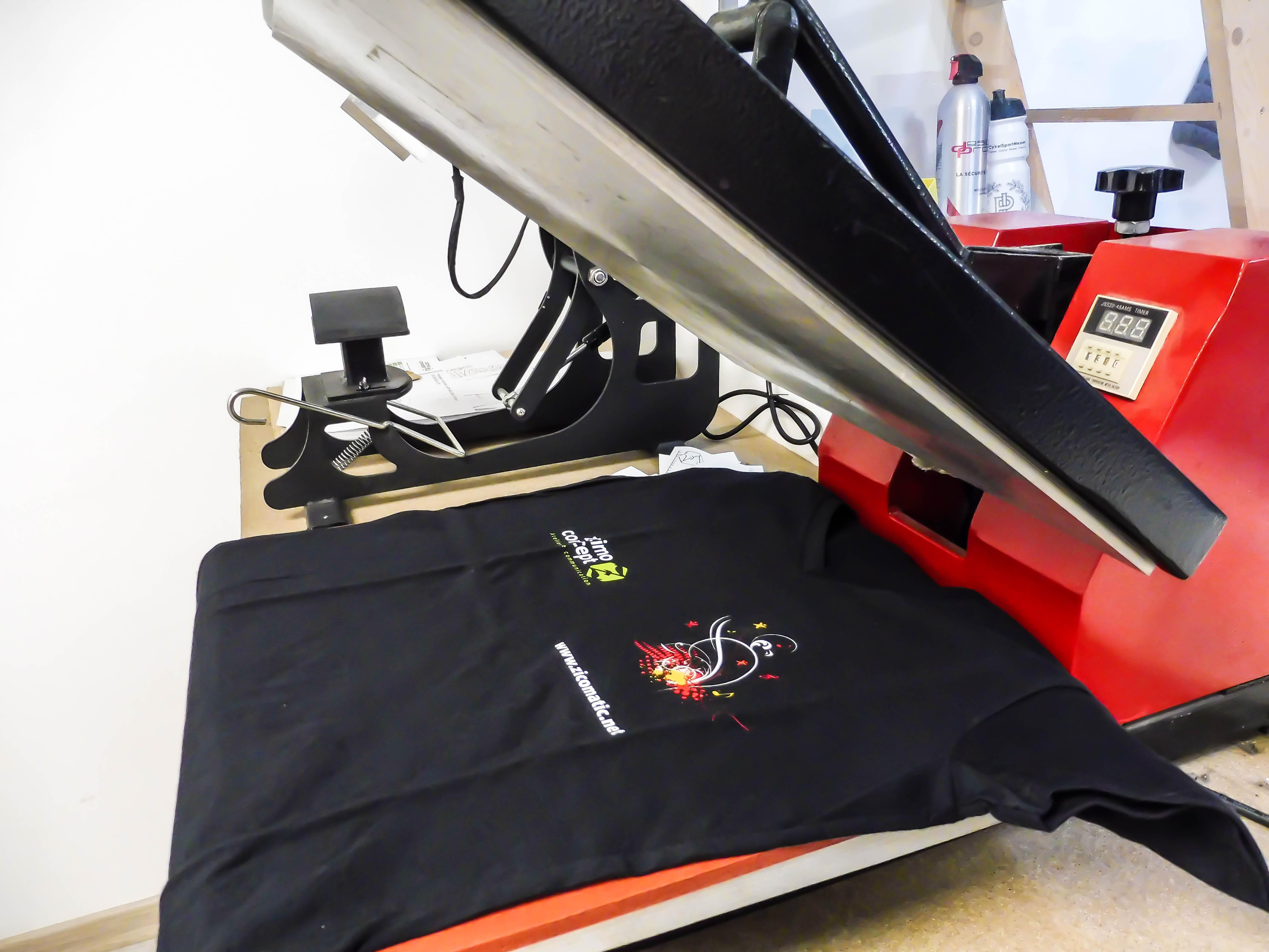 Impression textile en cours