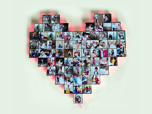 Personalized Big Heart Collage with multicolor lights