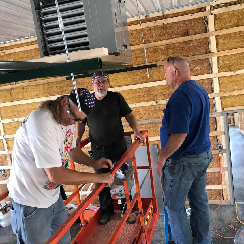 2017_07_08 Hanging the shop HVAC unit