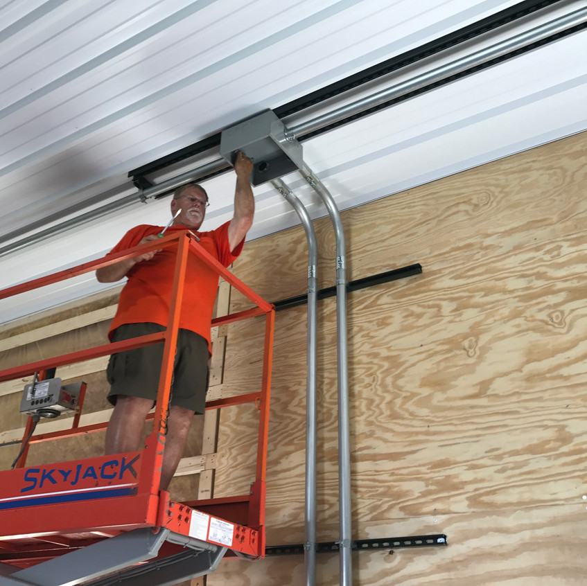2017_06_14 Toby installing ceiling conduit