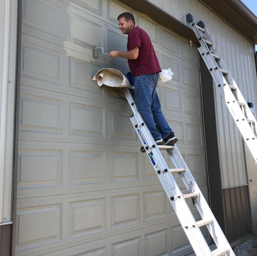 2017_10_20 Terry painting overhead doors