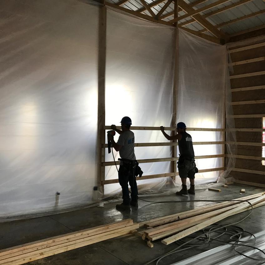 2017_05_11 Interior wall girts and vapor barrier