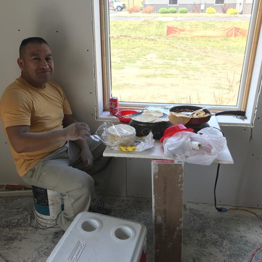 2017_08_28 Drywall install lunch