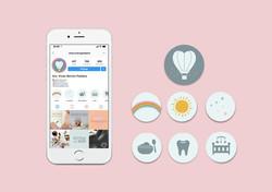 Ícones para rede social de pediatra ou consultório pediátrico. Comunicação diferenciada através de e