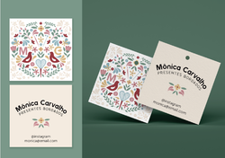 Cartão visita ou tag para loja de amigurumi. Etiqueta impressa profissional para presentes.