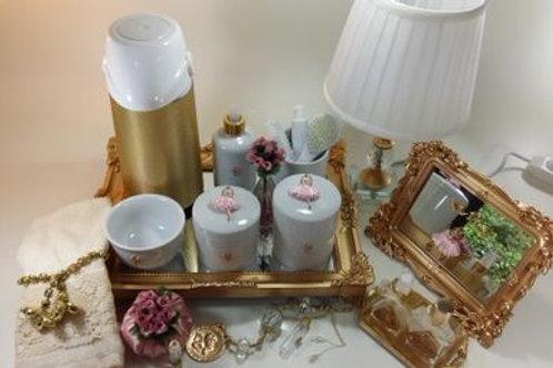 vitrine kit higiene bailarina rosa -band dourada