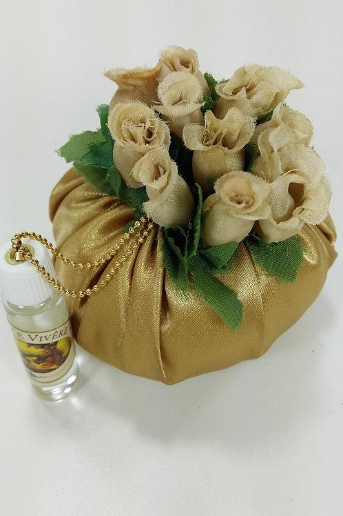 ref 294 sachê flores com ervas aromáticas -dourado