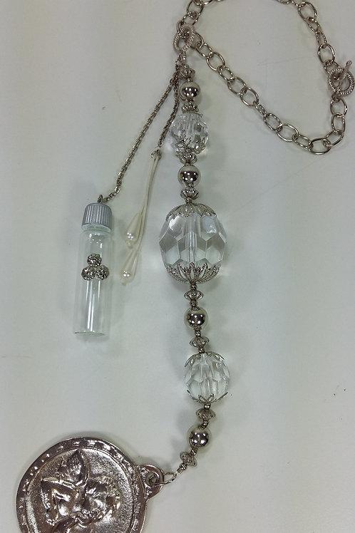 ref 96 medalhão de berço/água benta-cristal prata
