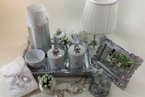 vitrine kit higiene urso prata -band prata