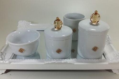 ref 235 kit higiene 4 pçs cristal dourado-band branca em acrílico