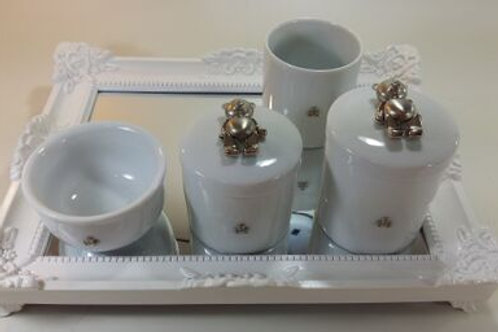 ref 31 kit higiene 4pçs urso prata -band branca(urso aço inox,bandeja acrilico