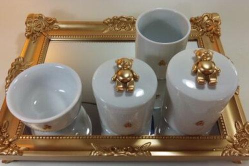 ref 177 kit higiene 4pçs urso dourado-band dourada,urso aço inox