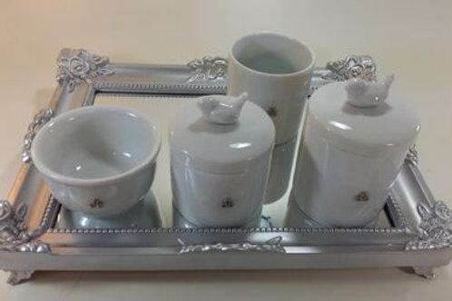 ref 242 kit higiene 4pçs passarinho br-band prata,passarinho em porcelana
