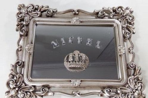 ref 297 quadro rococó p com espelho - prata envelh