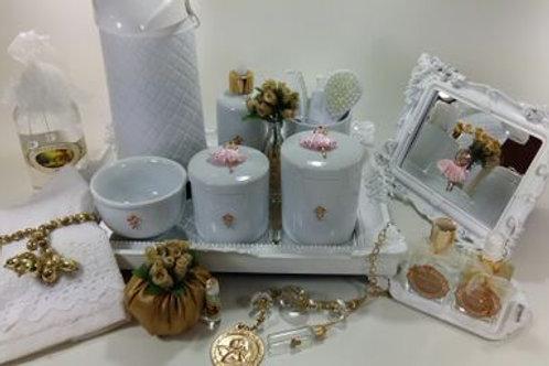 vitrine kit higiene bailarina rosa-band branca