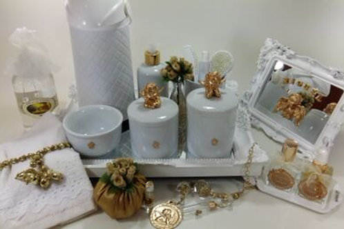 vitrine kit higiene anjo dourado-band dourada