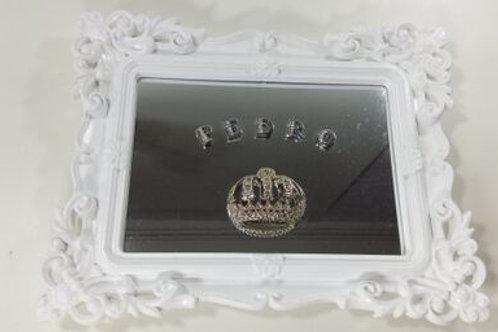 ref 221 quadro rococó p com espelho - branco,80.00 + 7.00 por letra do nome