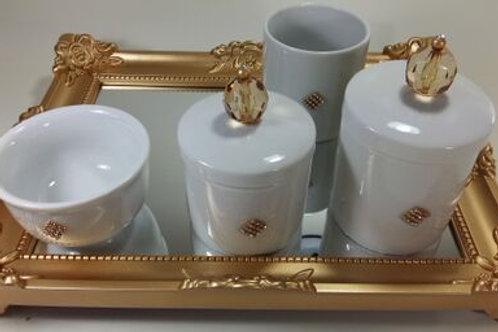 ref 234 kit higiene 4 pçs cristal dourado-band dourada em crílico