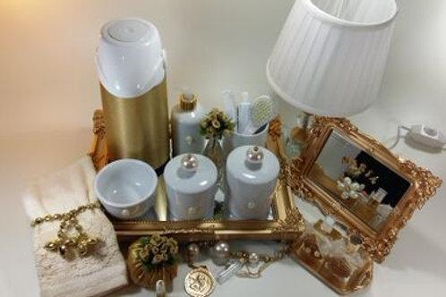 vitrine kit higiene pérola bege-band dourada
