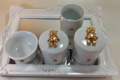 ref 338 kit higiene 4pçs urso dourado-band branca,urso aço inox,bandeja acrílico