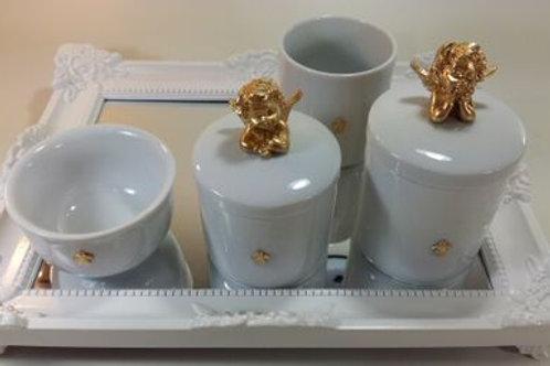 ref 247 kit higiene 4pçs anjo dourado-band branaca,bandeja em acrílico