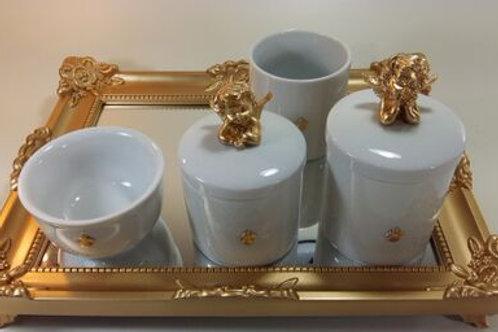 ref 230 kit higiene 4pçs anjo dourado -band dourad,bandeja em acrílico