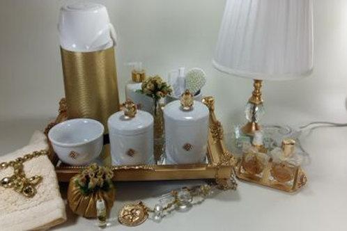 vitrine kit higiene cristal dourado -band dourada