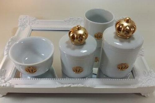 ref 232 kit higiene 4pçs coroa dourada-band branca,coroa porcelana,band acrílico