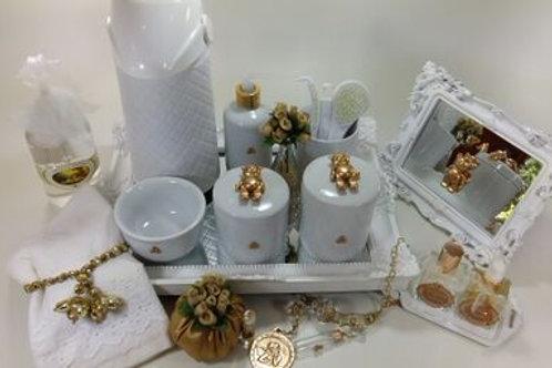 vitrine kit higiene urso dourado -band branca