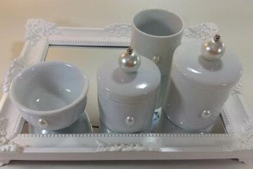 ref 240 kit higiene 4pçs pérola branca-band branca,bandeja em acrílico