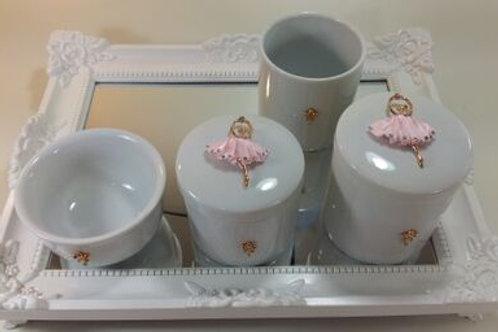 ref 233 kit higiene 4pçs bailarina rosa -band bran,bailarina metal/strass