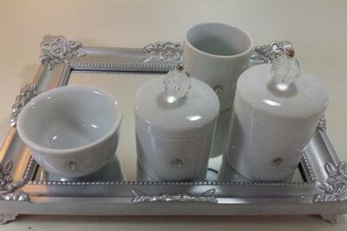 ref 244 kit higiene cristal transp-band prata em acrílico