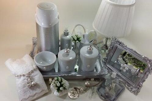 vitrine kit higiene pérola branca-band prata