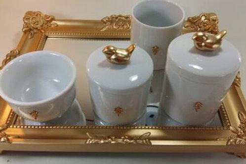 ref 246 kit higiene 4pçs passarinho dourado-band dourada,passarinho porcelana