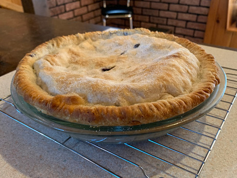 Blueberry pie fresh out of the oven...