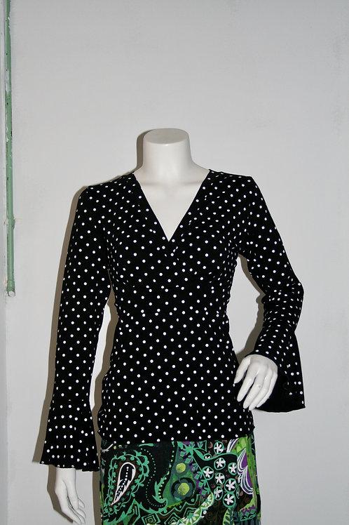 Zitta bluse i sort med prikker